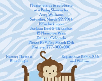CoCaLo Jacana Monkey in Crib Baby Shower Invitations