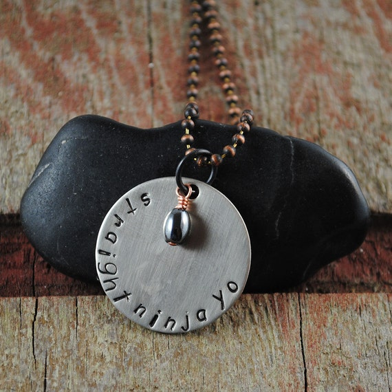 Straight Ninja Yo Pendant, Handstamped Nickel Silver Necklace with Copper Ball Chain and Hematite Rice Drop