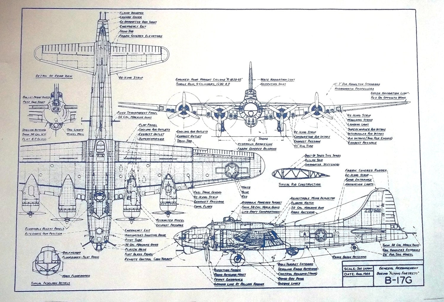 Ww Ii Boeing B 17g Bomber Blueprint By Blueprintplace On Etsy