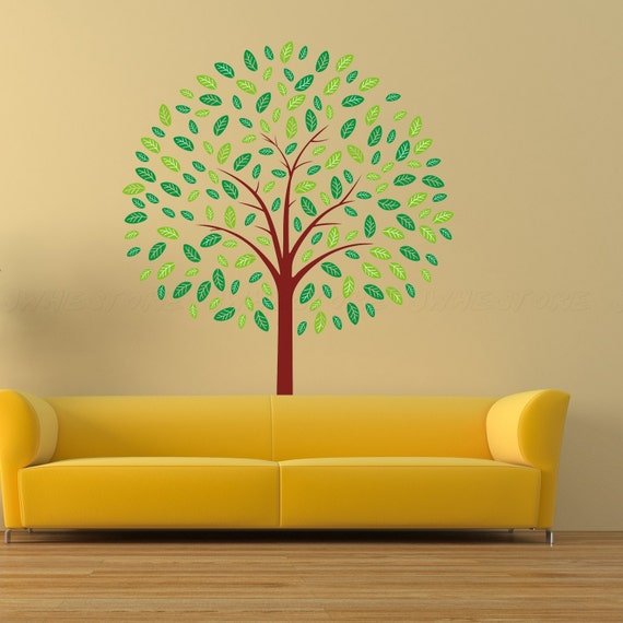 Wall art decals nature : Items similar to wall decals tree art green leaves