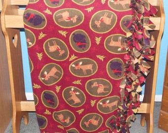 North Woods Christmas Fleece Tie Blanket