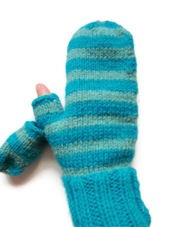 Turquoise Striped Texting Mittens with Thumb Flap