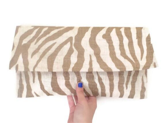 Oversized Clutch - Upcycled Tan Beige Zebra