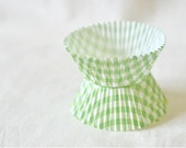 Cupcake Muffin Liners - Lime Green Gingham x 20