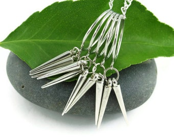 Spikes Necklace, Spiral Spiked Necklace, Silver Spikes Necklace, Spiral Silver Spikes Necklace