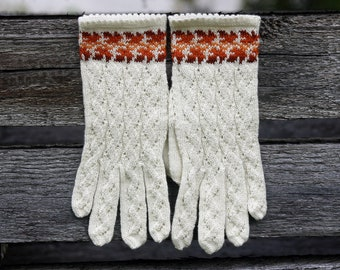 Gloves White Wool  Hand Knitted Lace Gloves for Women Ladies Lace Wool Gloves Womens Wool Gloves Folk Gloves
