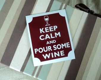 Keep calm pour some wine fridge magnet