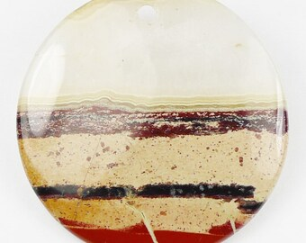 RARE - LARGE Drusy Red River Jasper Pendant Bead - 50x6mm