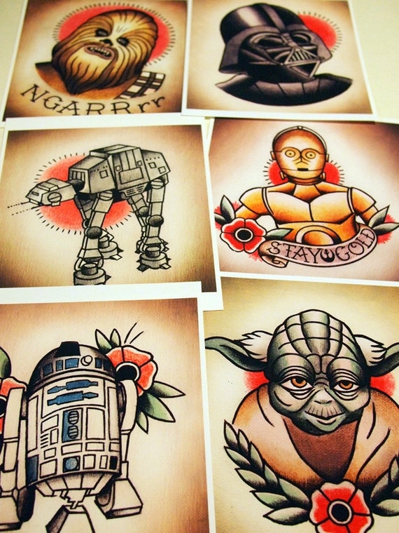 star wars traditional tattoo flash set