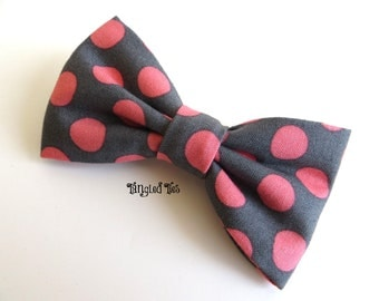 Boy's Bow Tie, Coral Dots On Gray For Boys, Men/Teen, Toddler, Girls in 100% Designer Cotton
