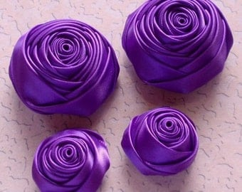 4 Handmade Rolled Roses (2 inches,1-1/4 inch) in Deiphinium  MY-060-87 Ready To Ship