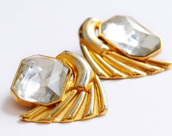 Large Gold Tone Clip on Earrings