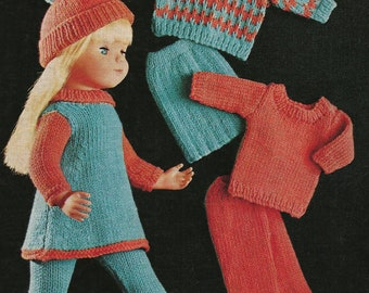 Vintage Dolls Clothes knitting pattern for 12ins to 18ins