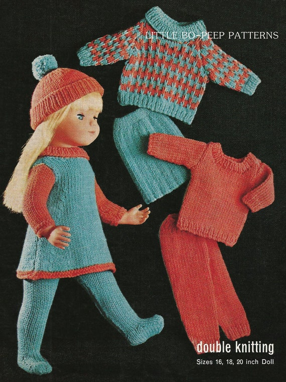Knitting Patterns For 16 Inch Dolls : Knitting pattern for dolls doll clothes to fit 16-18-20 inch