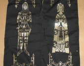 Pair Medieval banners, knight and lady