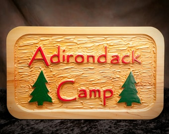 "Personalized rustic carved sign, Custom carved camp sign, Adirondack sign, Primitive carved sign.  1 1/2"" x 12"" x 20""."