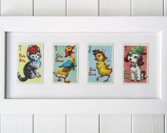 Framed Vintage Animal Rummy Playing Cards