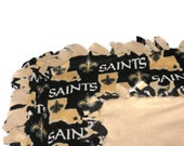 New Orleans Saints Blanket - NFL Football Fleece No Sew  - Perfect Tie Quilt / Toss / Minky Gift - Adult and Baby Sizes - Gold / Black Color