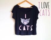 Custom t shirt, for womens, handmade I love cats, oversized style