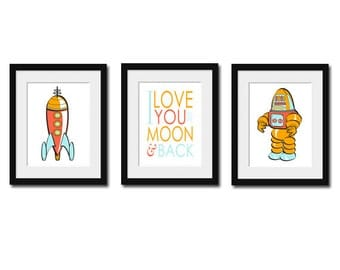 Nursery Art, Nursery Print, Childrens Art, Baby, Boys Bedroom, Robot Print, Set of Three Prints, Spaceship Print, To the Moon and Back