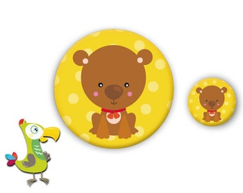 Small dog button and mirror set
