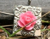 Pink flower pendant on scrabble piece with brass flowers ooak