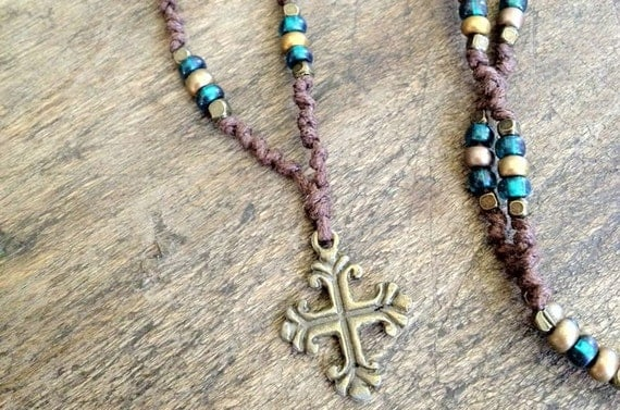 Bohemian Knotted Bronze Cross Pendant Necklace