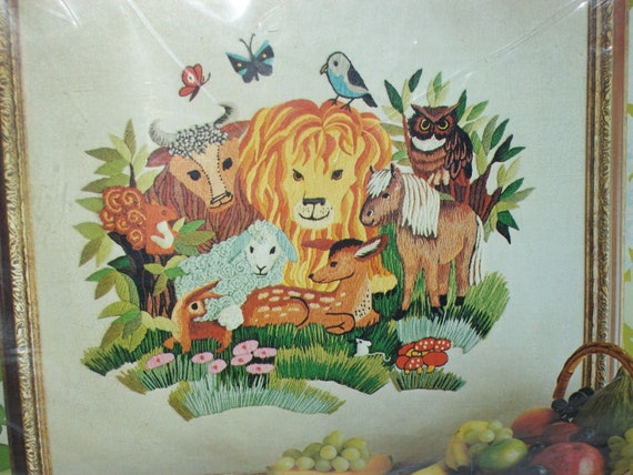 1972 New Erica Wilson Crewel Embroidery Kit Peaceable Kingdom
