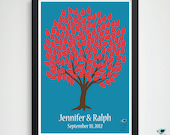 Unique GuestBook / Modern Fall Wedding Tree Guest Book Poster / Promise Tree / Personalized Keepsake // 150 Signature Leaves // 20x30