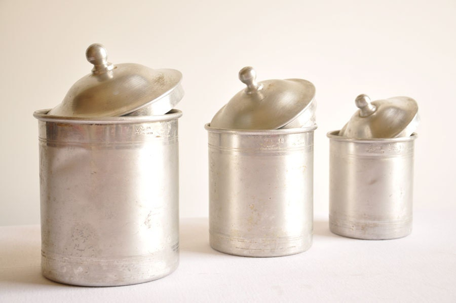 vintage aluminum kitchen canisters set of three