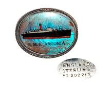 Vintage Sterling Silver Cunard Line Enameled RMS Antonia Pin