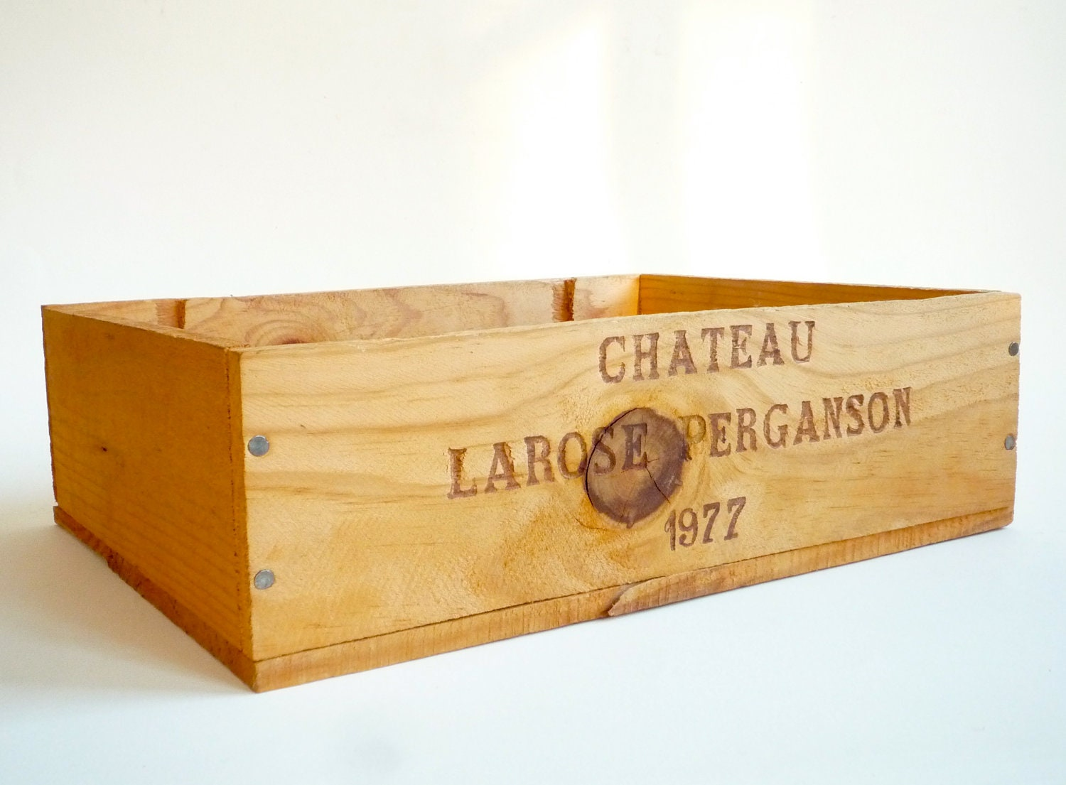 Small wooden wine crate vintage french wine panel by crolandco for Small wine crates