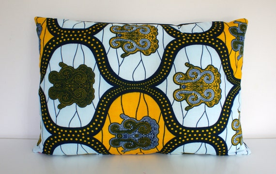 "KITENGE | African Print Pillow Cushion Cover 24""x16"" or 60cm x 40cm Grey Backing"