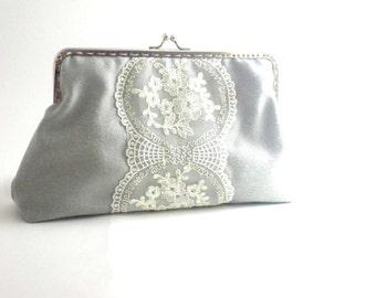 Cotton fabric,  clutch, lace design, romantic, ( free shipping), purse, handbag, bag