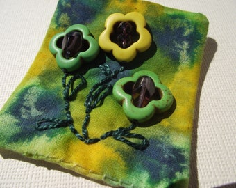 Yellow and Green flower pin brooch