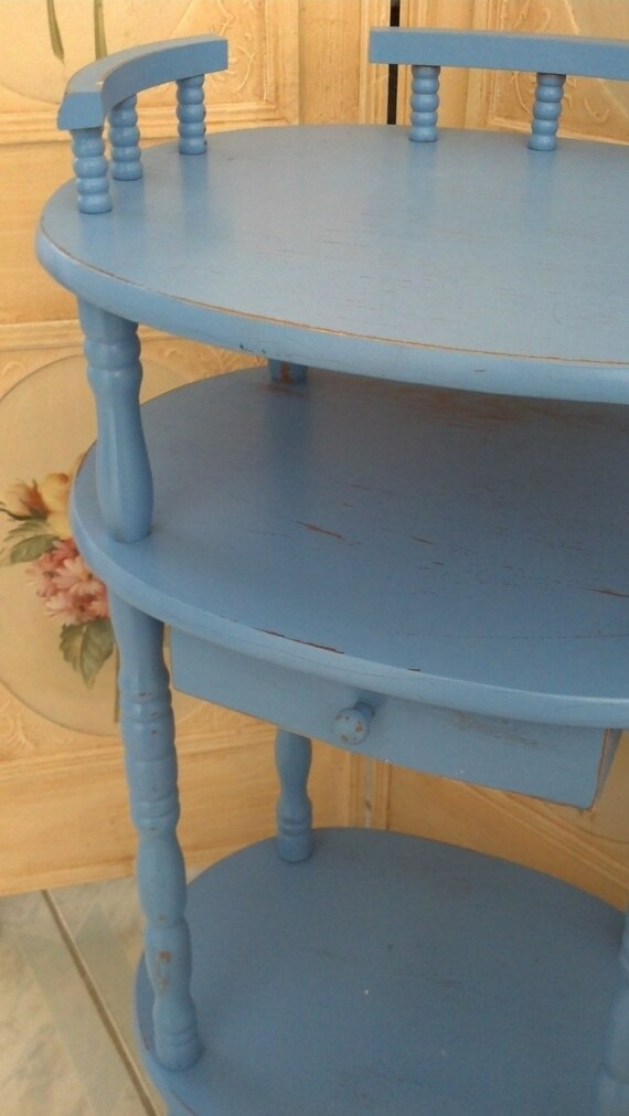 SALE CLEARANCE Vintage Shabby Chic Side Table Sky Blue Robins Egg Blue End Table with Drawer Farmhouse Style