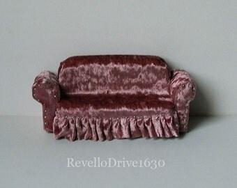 Sofa Couch, velvet, choose your color, miniature dollhouse 1/12