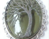 Vintage Reversible Etched Green Glass and Mirror Necklace Pendant