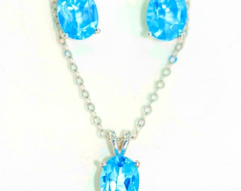 Blue Topaz Oval Stud Earrings and Pendant Set .925 Sterling Silver Rhodium Finish