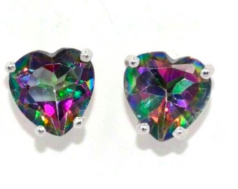 Natural Mystic Topaz Heart Shape Stud Earrings in Sterling Silver