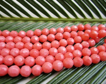 """Natural Orange Coral Beads - Faceted Rounds 6mm - Full Strand - 16"""""""