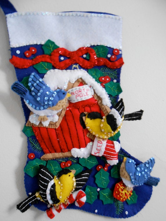 Winter Birds Completed Handmade Felt Christmas Stocking From