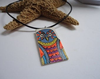 Hand painted Owl art pendant, one of a kind, boho multi colored artwork, blonde wood, neon orange and blue purple