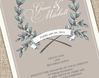Rustic Modern Wedding Invitations (Sample Set)