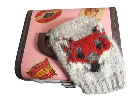 Fingerless Gloves Knitting Pattern / Red Fox Fingerless Gloves PDF Knitting Pattern