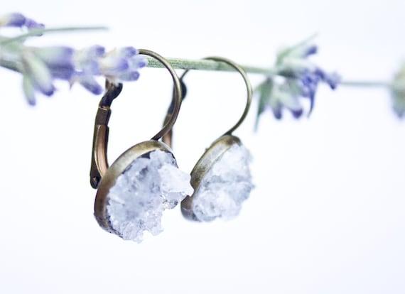 Celestite Spring brass earrings - gemstone earrings