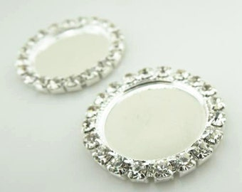 30pcs of rhinestone edge setting for 18mm cameo-7533-silver