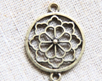 6 pcs of metal filigree charm pendant two loop 1244-antique bronze