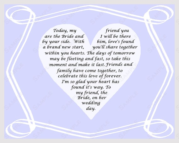 Gift For Best Friend On Wedding Day: Items Similar To Gift For Bride On Wedding Day Poem From