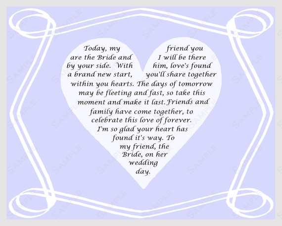 Items similar to Gift for Bride on Wedding Day Poem from Friend ...